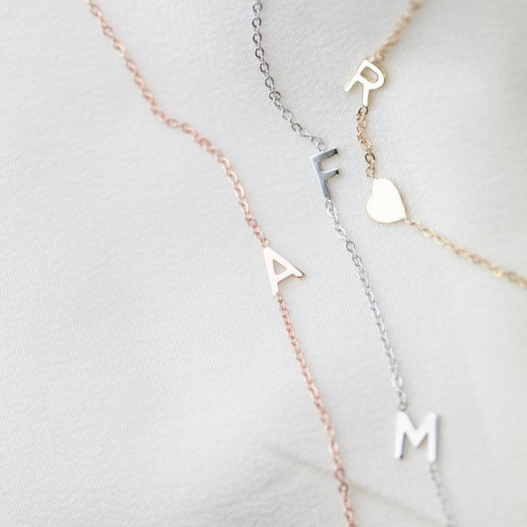 925 Sterling Silver Sideway Initial Necklace - onlyone