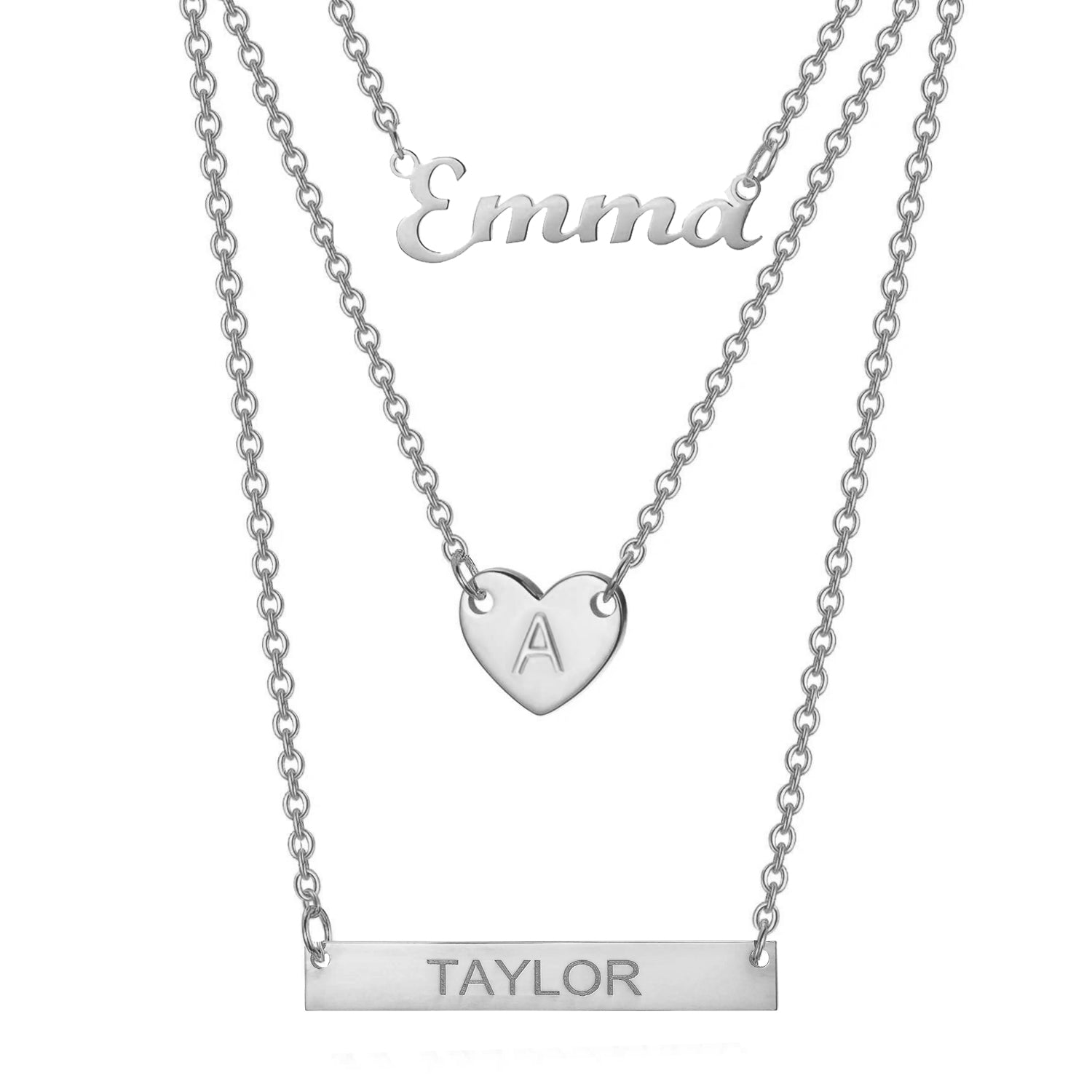 925 Sterling Silver Three Layers Name Necklace - onlyone
