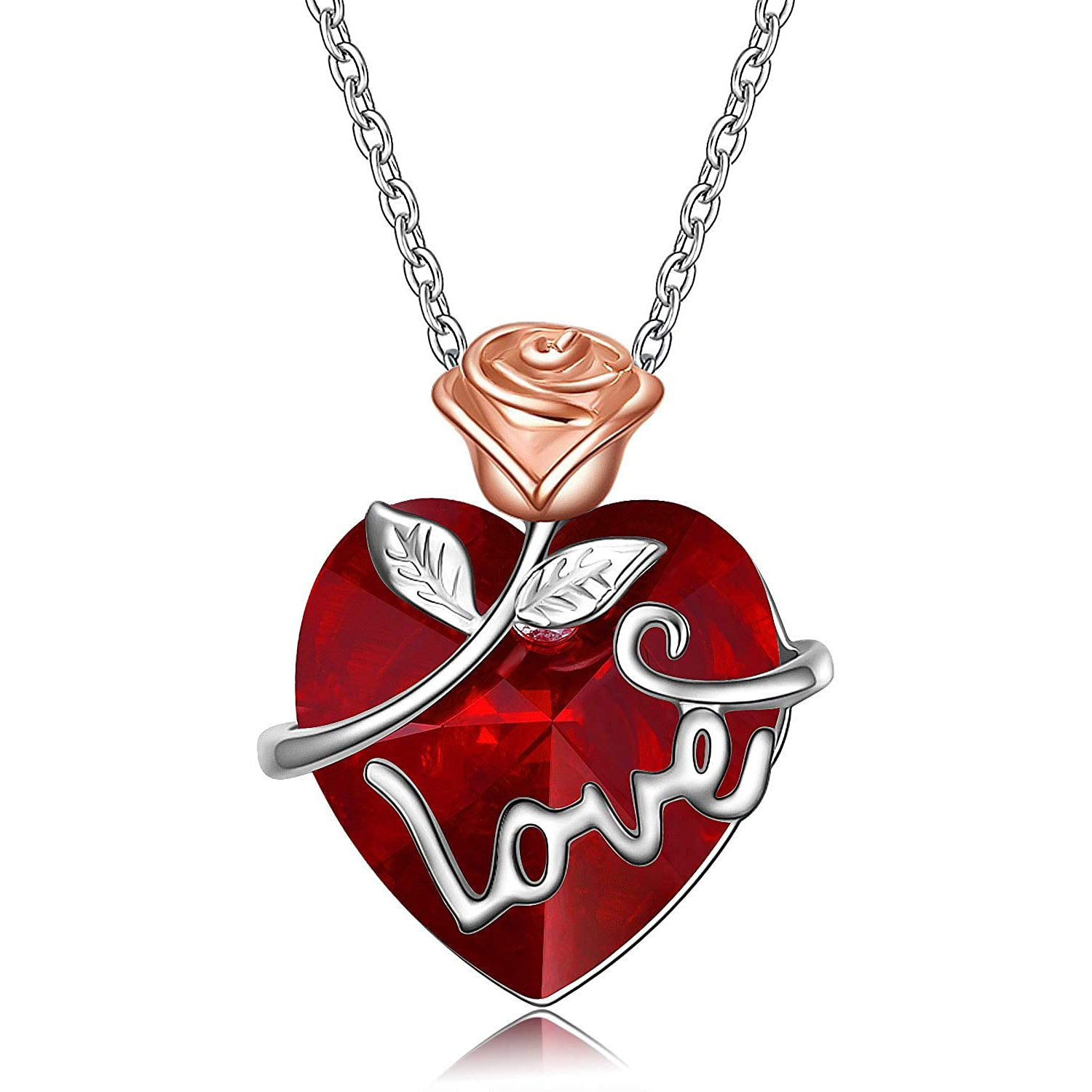 925 Sterling Silver Love Flower Heart Swarovski Crystal Necklace