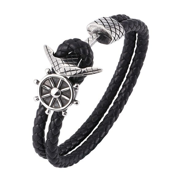 Mens Leather Bracelet With Stainless Steel Compass, Father's Day Bracelet - onlyone