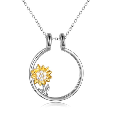 925 Sterling Silver Ring Holder With Sunflower Necklace