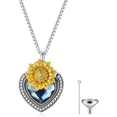 925 Sterling Silver Heart Flower Urn Necklace for Ashes, Cremation Keepsake Necklace with Swarovski Crystal - onlyone