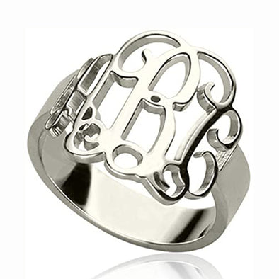 925 Sterling Silver Personalized Cut Out Monogram Ring - onlyone