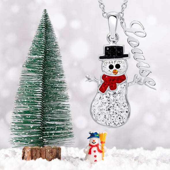 925 Sterling Silver Personalized Cute Zirconia Snowman for Christmas Necklace