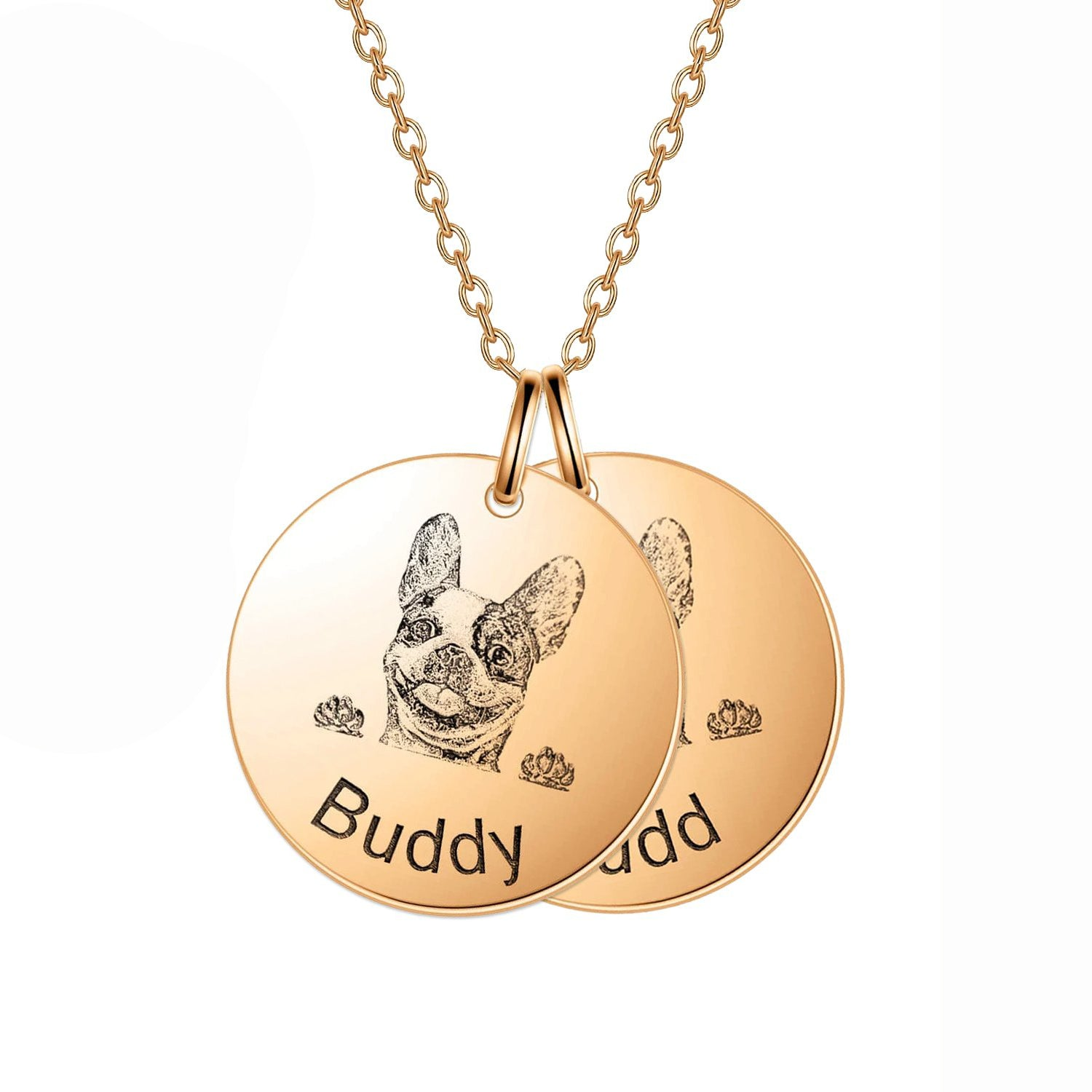 925 Sterling Silver 2 Pet Lithograph  Pet Portrait Pet Paw Print Personalized Necklace Gift For Pet Lovers