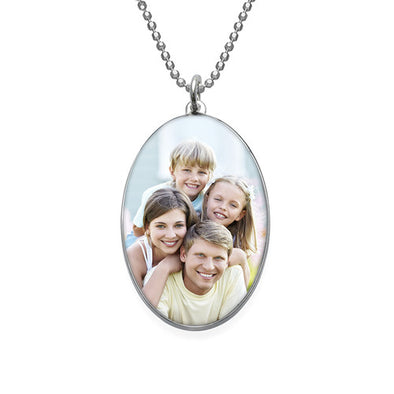 925 Sterling Silver Oval Photo Necklace - onlyone
