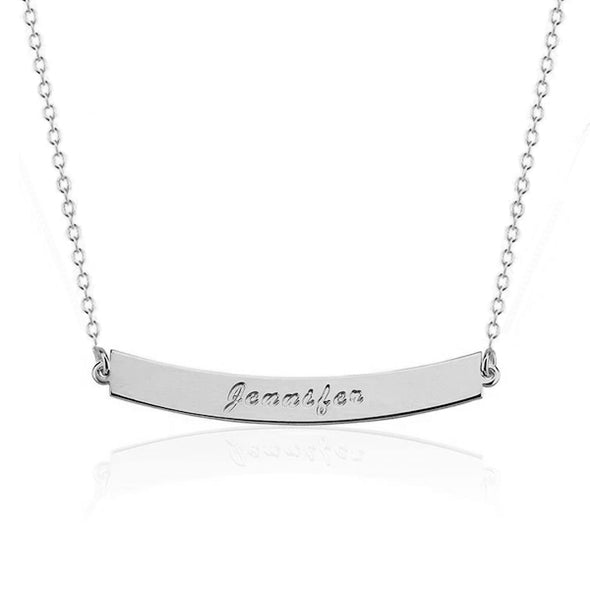 925 Sterling Silver Engraved Arch Bar Custom Name Necklace Nameplate Necklace