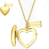 925 Sterling Silver Heart Photo Locket Necklace With Two Engraved Bars
