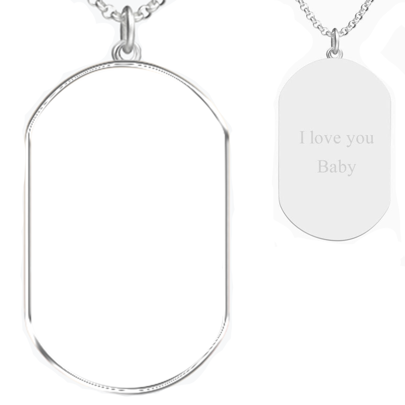 925 Sterling Silver Dog Tag Photo Necklace, Engravable On Back