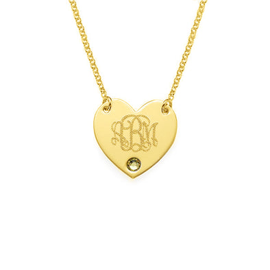 925 Sterling Silver Birthstone Engraved Monogram Heart Necklace - onlyone