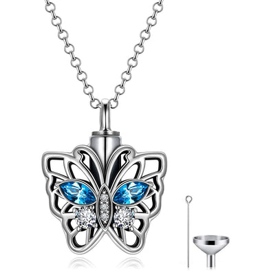 925 Sterling Silver Butterfly Urn Necklace for Ashes, Cremation Keepsake Necklace with Crystal - onlyone