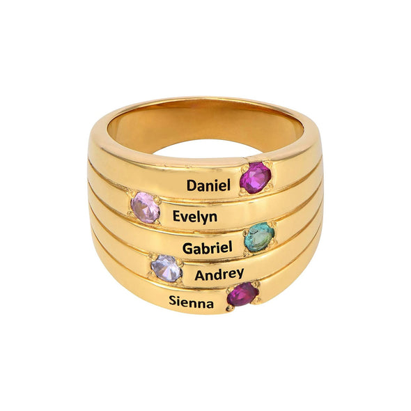 925 Sterling Silver Custom Engraved Name Mothers Ring with 5 Birthstones