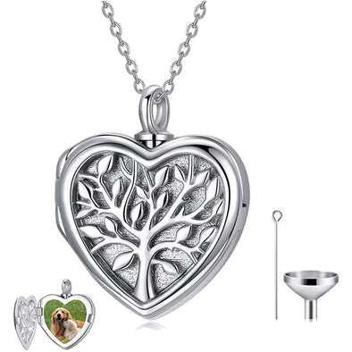 925 Sterling Silver Tree of Life Urn Necklace for Ashes Photo Locket Cremation Jewelry for Ashes - onlyone