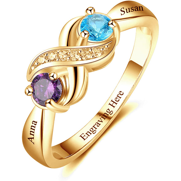 925 Sterling Silver Personalized Infinity Mothers Rings With 2 Round Simulated Birthstones