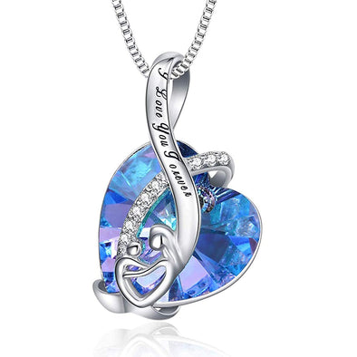 925 Sterling Silver Mom And Child Heart Crystal Pendant Necklace With I Love You Forever Engraved