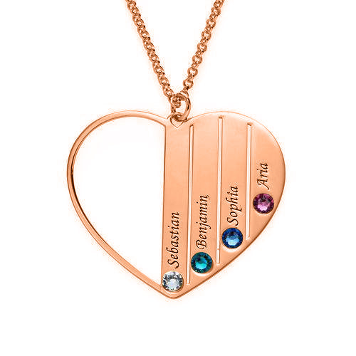 925 Sterling Silver 4 Birthstone Heart Name Personalised Necklace Nameplate Necklace Family Birthstone Jewelry Gift - onlyone