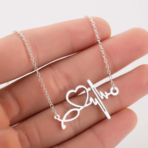 925 Sterling Silver Nurse Heart Beat Stethoscope Necklace, Gifts For Nurse - onlyone
