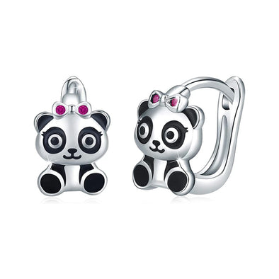 925 Sterling Silver Small Hoop Earrings Panda Beer Earrings Hinged Huggie Earrings