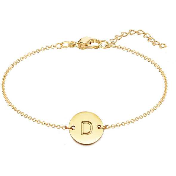 925 Sterling Silver Coin Initial Bracelet - onlyone