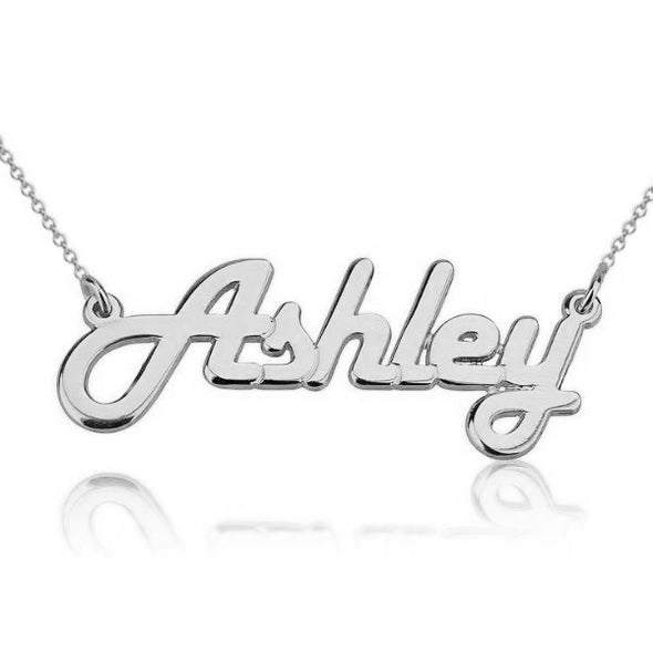925 Sterling Silver Custom Ashley Name Necklace Nameplate Necklace