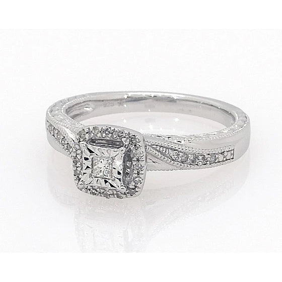 14K Princess-cut Total Weight 0.2 Carat Diamond Ring - onlyone