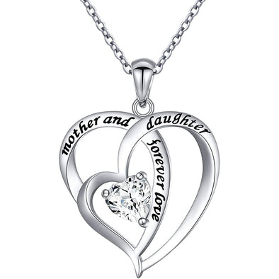 925 Sterling Silver Mom And Daughter Double Heart Necklace