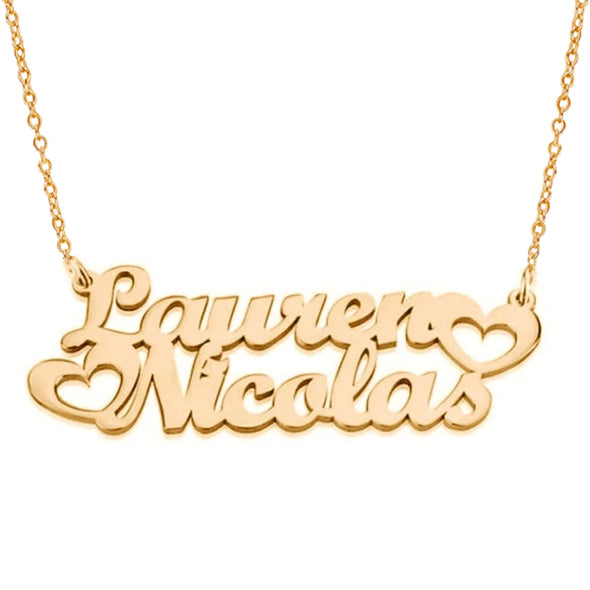 925 Sterling Silver Custom Two Names Who In Love Necklace Nameplate Necklace