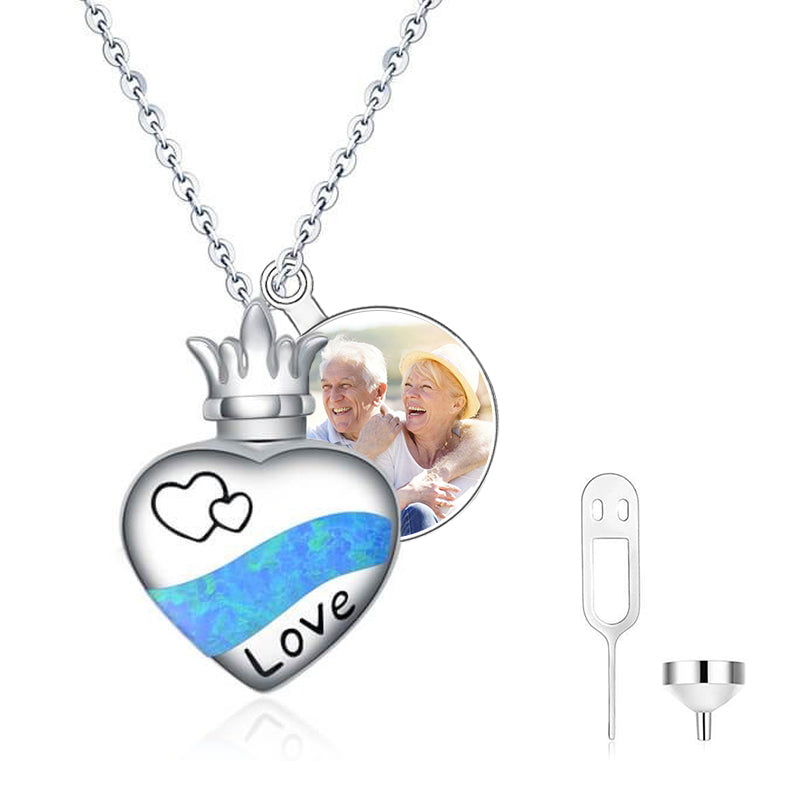 925 Sterling Silver Urn Necklaces for Ashes Forever In My Heart Cremation Urns Keepsake Necklace - onlyone