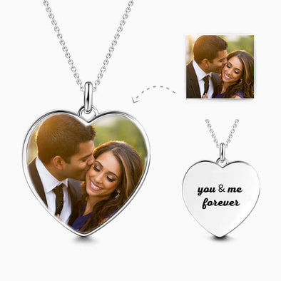925 Sterling Silver Personalized Heart Photo Necklace, Engraved On The Back - onlyone