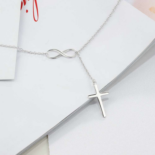 925 Sterling Silver Infinity Love Necklace With Cross Fashion Chain Necklace - onlyone