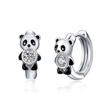 925 Sterling Silver Small Panda Hoop Earrings