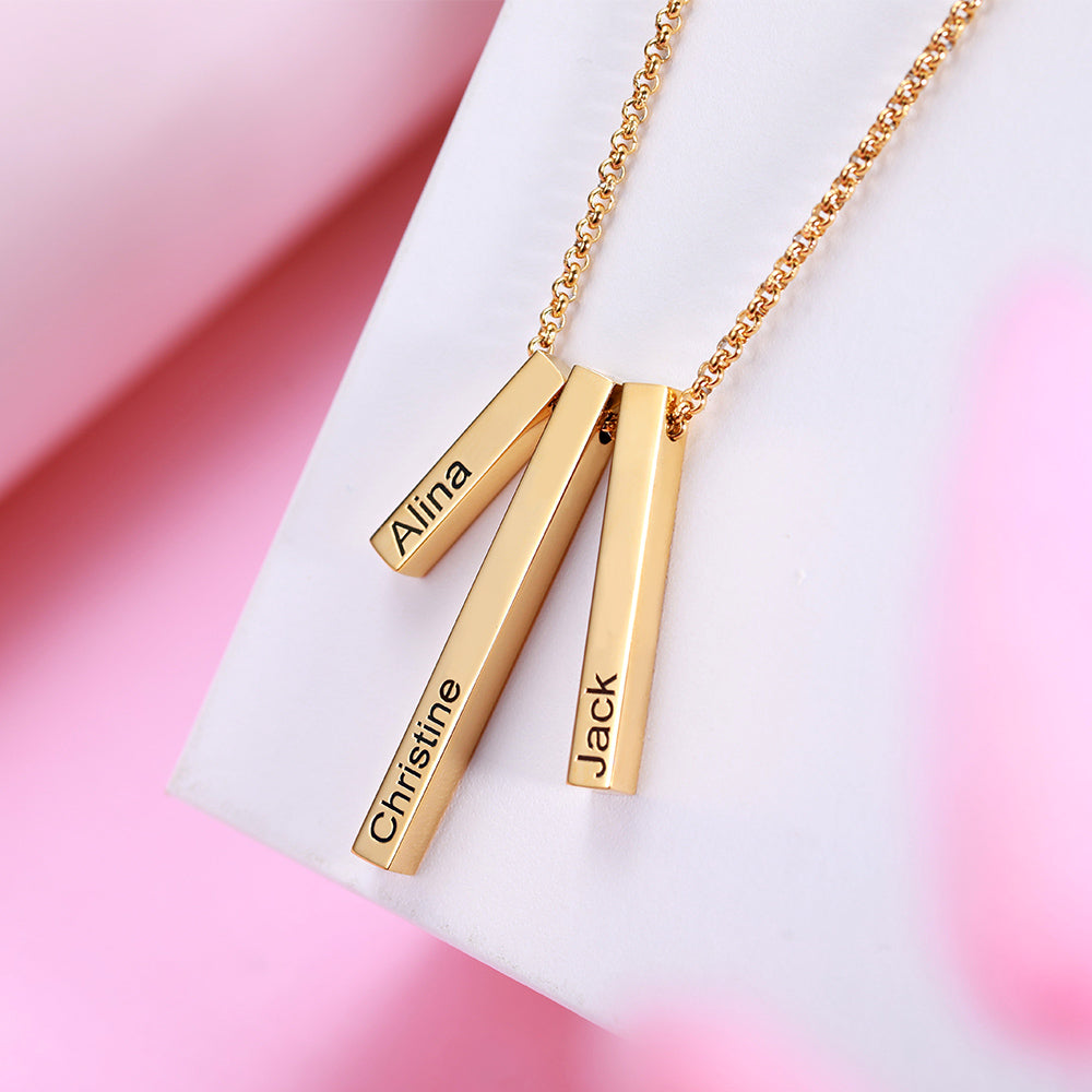 925 Sterling Silver Triple 3D Engraved Vertical Bar Necklace - onlyone