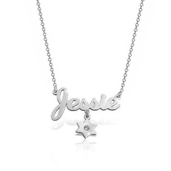 925 Sterling Silver Birthstone Star Name Necklace Nameplate Necklace - onlyone