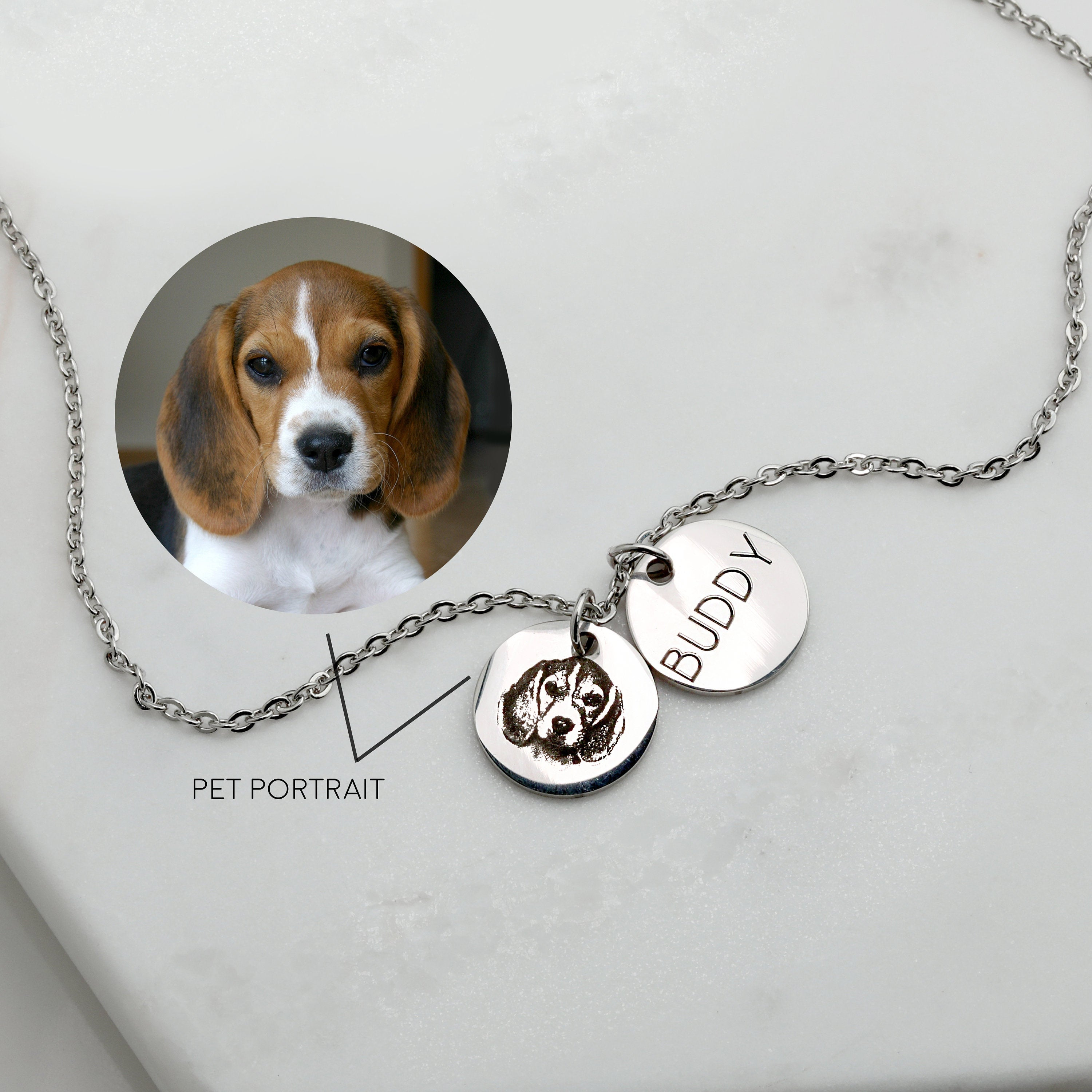 925 Sterling Silver Dog Photo Engraved 2-Coin Necklace Inspirational Gift - onlyone