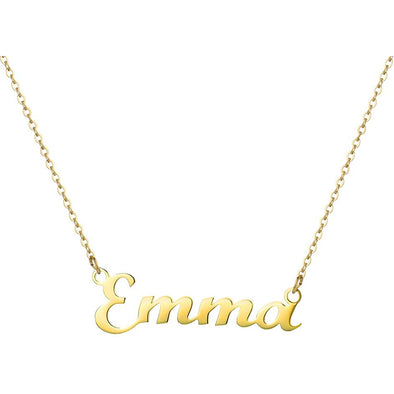 925 Sterling Silver Tiny Gold Personalized Emma Name Necklace Nameplate Necklace - onlyone