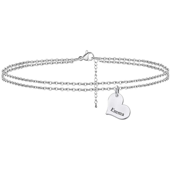 925 Sterling Silver Custom Layered Name Bracelets with Adjustable Link Chain Anklet - onlyone
