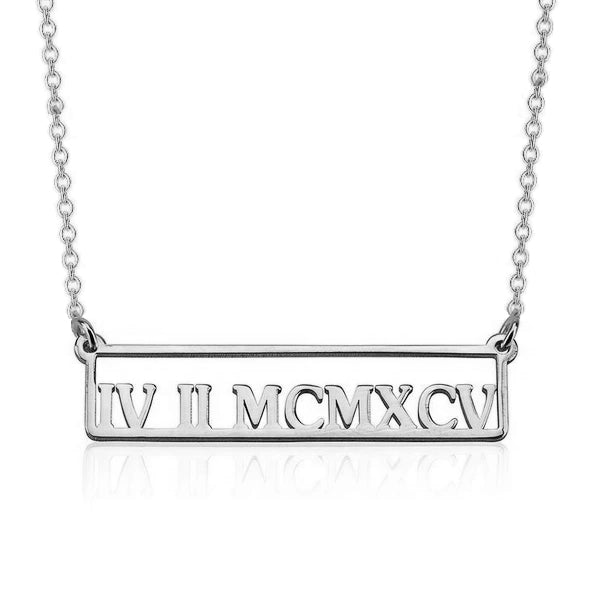 925 Sterling Silver Hollow Engraved Bar Custom Roman Numerals Necklace - onlyone