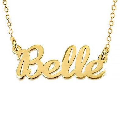 925 Sterling Silver Custom Belle Name Necklace Nameplate Necklace