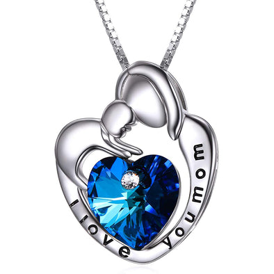 925 Sterling Silver I Love You Mom Mom And Child Heart Crystal Pendant Necklace