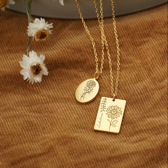 925 Sterling Silver Personalized Sunflower Necklace
