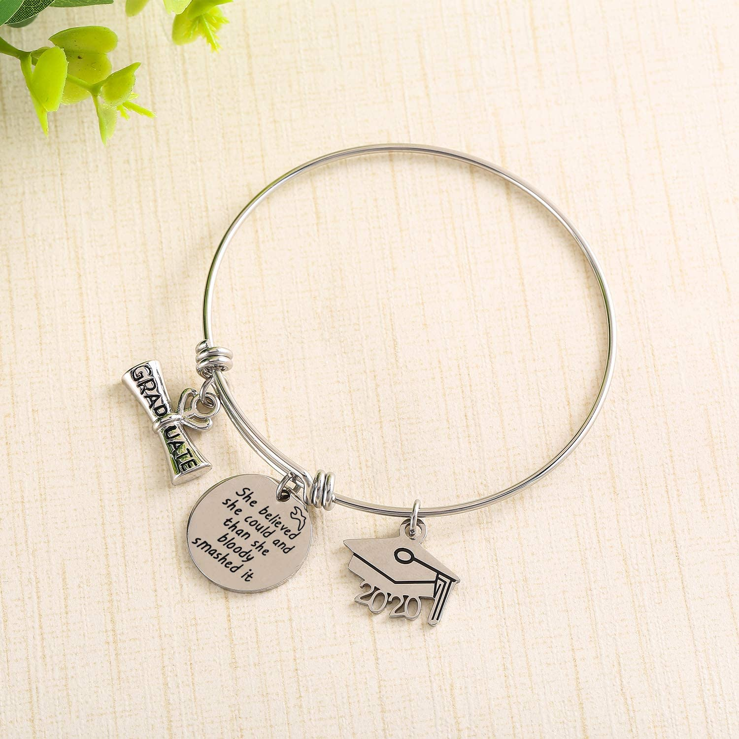 Graduation Cap 2020 Bangle Gifts Expandable Bangle Adjustable Bracelet Graduation Inspirationla Gift - onlyone