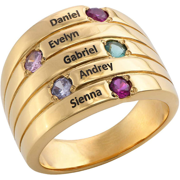 925 Sterling Silver Custom Engraved Name Mothers Ring with 5 Birthstones - onlyone