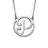 925 Sterling Silver Initial Circle Necklace - onlyone