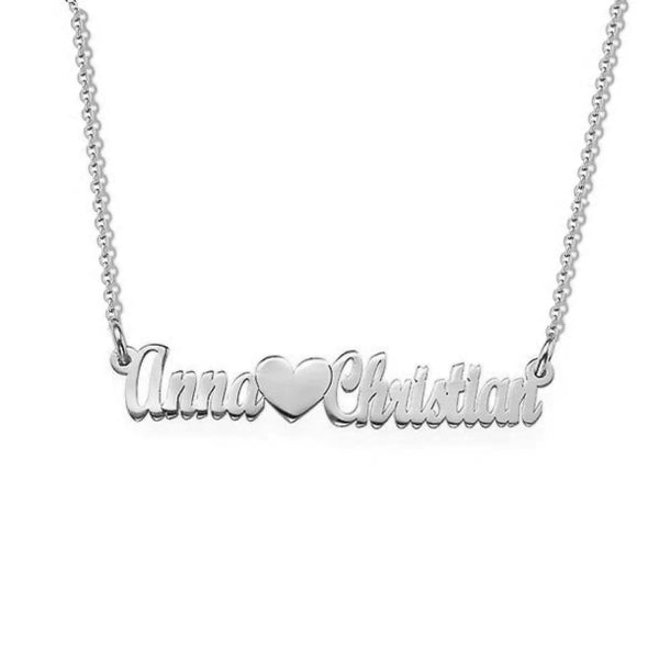 925 Sterling Silver Custom Two Name Necklace Nameplate Necklace