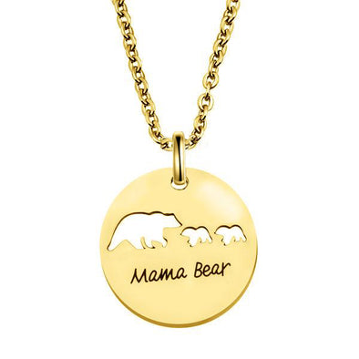 925 Sterling Silver Engraved Coin Name Necklace Mama Bear Necklace, Gift For Mom - onlyone