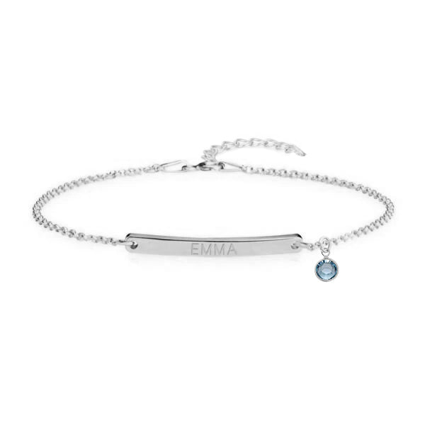 Sterling Silver Customized Name Bar Bracelet With Birthstone Gift For Her Bridesmaid Bracelet Nameplate Bracelet