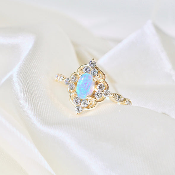 925 Sterling Silver Halo Opal Ring - onlyone