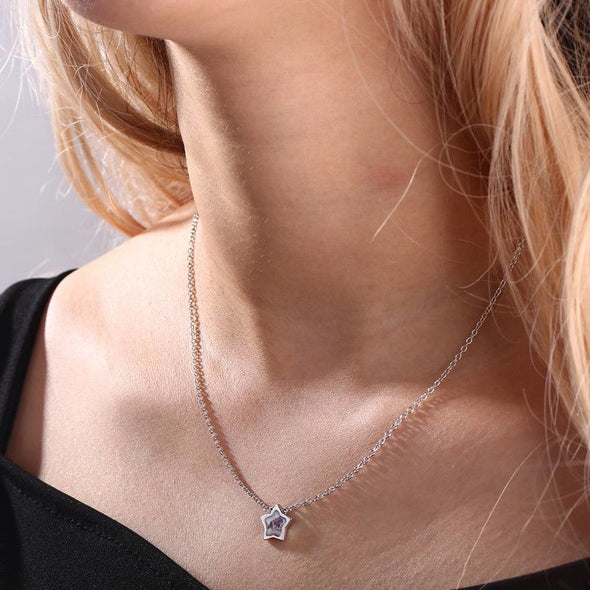 925 Sterling Silver Tiny Star Photo Necklace - onlyone