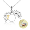 925 Sterling Silver Sunflower Open Locket Photo Pendant Necklace
