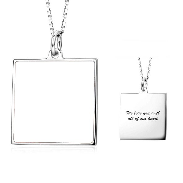 925 Sterling Silver Full Color Photo Picture Personalized Necklace Custom Etched Dog Tag Image Pendant with Message Name